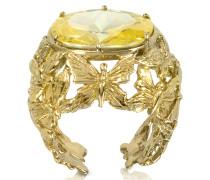 Bronze Dome Ring mit Schmetterlingen und gelbem Zirkon