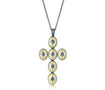 Capri Silver Halskette mit Zirkon und Emaille-Kreuz