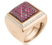 Quadratischer Ring mit pinken Zirkonen
