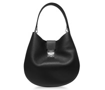 Patricia Park Avenue Large Black Leather Hobo Bag