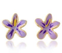 Garden Line - Blumen-Ohrringe aus Emaille in purpurfarben
