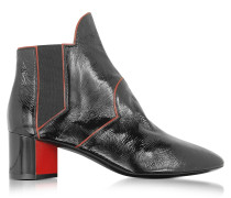 Belle Black and Red Patent Leather Ankle Boot