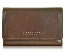 Passpartout Donna Damen Brieftasche aus Leder in dunkelbraun