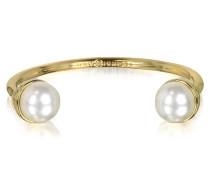 Manschettenarmband mit Perlen und Brass aus 16k Gold