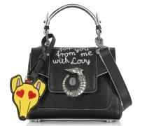 Lovy Crossbody aus Saffianleder mit Emoticon-Plakette in schwarz