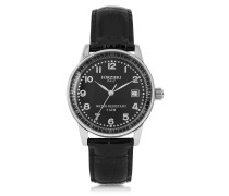 Discovery Lady Silver Tone Stainless Steel Case and Genuine Leather Strap Women's Watch