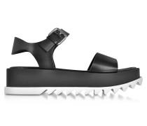 Plateau Sandale aus schwarzem Leder