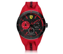Red Rev T Black Stainless Steel Case and Red Silicone Strap Men's Watch