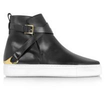 High Top Sneaker für Damen aus schwarzem Leder