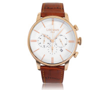 1960 Rose Gold PVD Stainless Steel Men's Chronograph Watch w/Brown Croco Embossed Leather Strap