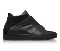 Nerone Black Perforated Leather and Suede High Top Men's Sneakers