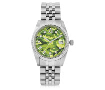 Trevi Silver Tone Stainless Steel Women's Watch w/Green Camo Dial