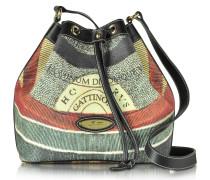 Planetarium Bucket-Handtasche aus beschichtetem Canvas und Leder