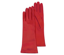 Red Leather Women's Long Gloves w/Cashmere Lining