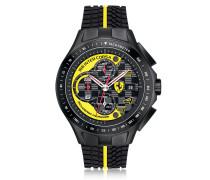 Race Day Herrenuhr mit Chronograph aus Edelstahl in schwarz und gelb mit Silikonarmband