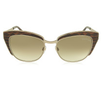 SUALOCIN 973S Cat Eye Sonnenbrille aus goldfarbenem Metall mit Tierprint in braun
