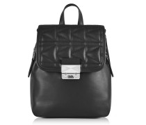 K/Kuilted Black Leather Small Backpack
