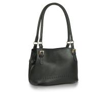 Schwarze Eimer-Tasche aus weichem Leder mit Ziernähten