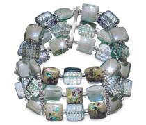 Atelier Byzantium - Stretch Armband aus Muranoglas mit silbernem Blatt