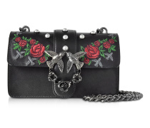 Mini Love Jeweled Black Embroidery Leather Shoulder Bag w/Pearls