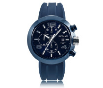 Tondo Blue PVD Stainless Steel Chronograph Men's Watch w/Leather and Silicone Band Set