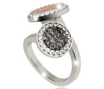 R-Zero Rhodium Over Bronze Ring w/Two Tones Stones