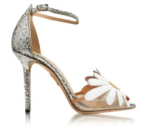 Margherite Platinum White and Sunshine Yellow Glitter and Leather Sandal