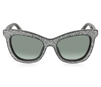 FLASH/S F18HD Sonnenbrille in schwarz und Silber Glittet