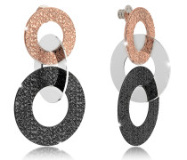 R-Zero Black Ruthenium and Rose Gold Over Bronze Stud Drop Earrings