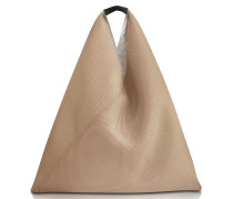 Beige Perforated Scuba Mesh Japanese Tote