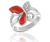Ring aus 18k Gold mit Schmetterling aus Koralle mit Diamant