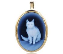 Achat Muschelkameeanhänger/-brosche mit Katzenmotiv