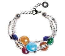 Redentore 1 - Multicolor Armband aus Muranoglas & Silber Blatt
