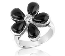 Ring aus 18k Gold und Blume aus Onyx mit Diamant