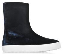 Dark Blue Velvet Boots w/Rubber Sole