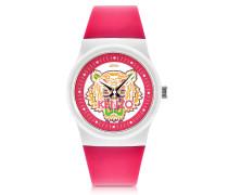 Kleine Tiger Uhr in pink