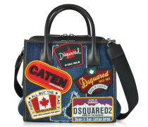 Denim Destroyed and Black Leather Tote Bag w/Patches