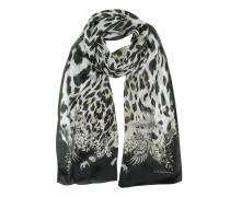 Natural Stola aus bedruckter Seide mit Muster und Leopardenprint