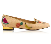 Fruit Natural Raffia Kitty Flats