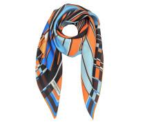 Vortici Halstuch aus bedruckter Seide in orange in blau