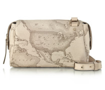 Small Geo Safari Crossbody aus beschichtetem Canvas und Leder in creme