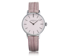 1960 Silver Stainless Steel Women's Watch w/Pink Croco Embossed Leather Strap