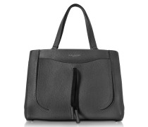 Maverick Black Leather Tote Bag