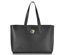Black Grainy Leather Large Tote Bag