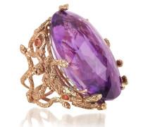 Medusa Ring in rosegold mit Amethyst in dukelviolet