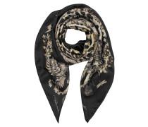 Natural Halstuch mit Muster und Leopardenprint aus Seide