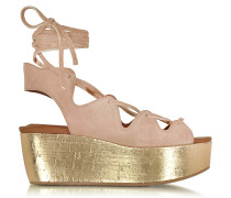 Liana Powder Pink Suede Lace-up Wedge Sandal