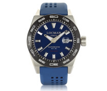 Stealth 300 mt Analog Display Automatic Self Wind Blue Stainless Steel Titanium and Silicone Men's Watch