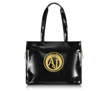 Black Faux Patent Leather Tote