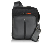 Web Micro Black Nylon and Leather Crossbody Bag